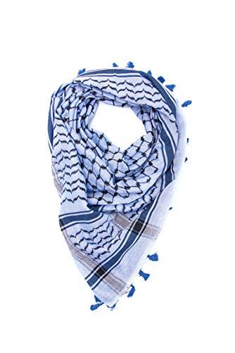 """Hirbawi Premium Arabic Scarf 100% Cotton Shemagh Keffiyeh 47""""x47"""" Arab Scarf (Blue)"""
