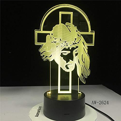 xjzjy 3D Illusion Lampe Hirte Psalm Jesus Christus Kreuz USB 3d LED Nachtlicht Geschenke Schreibtisch Kruzifix Tischlampe Schlafzimmer Der Herr ist mein Hirte