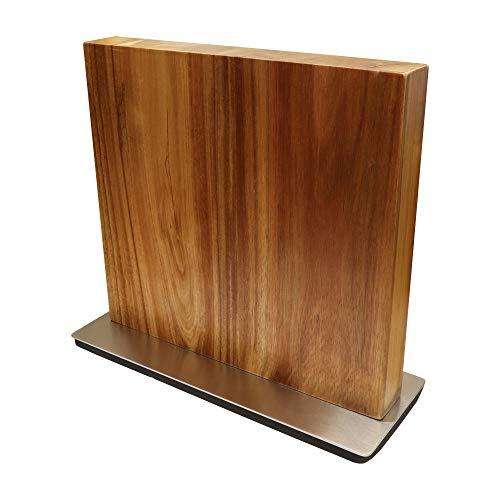 Messerblock aus Akazienholz beidseitig magnetisch - Messerhalter Magnet Messer Brett Block Holz Akazie
