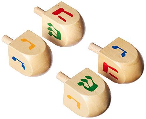 Israel Gift Ware Designs DR-25 Holz-Dreidles, 3,8 cm, 4 Stück