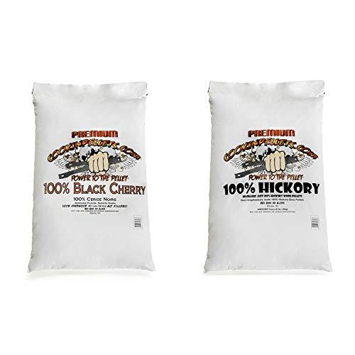 CookinPellets Black Cherry Smoker Smoking Hardwood Wood Pellets, 40 Pound Bag Bundle with CookinPellets Premium Hickory Grill Smoker Smoking Wood Pellets, 40 Pound Bag