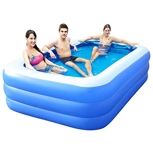 BallsFHK Family Lounge Pool Inflatable Swimming Pool, Inflatable Lounge Pool for Kiddie, Adults, Easy Set Swimming Pool for Backyard, Summer Water Party (18014260(M))