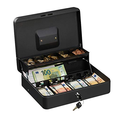 Relaxdays Geldkassette abschließbar, Münzeinsatz & 4 Scheinfächer, Geldkasse Eisen, HBT 8,5 x 30,5 x 24,5 cm, schwarz