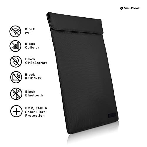 Silent Pocket Faraday Bag Tablet Sleeve - Leather or Waterproof Nylon - Signal Blocking Device Shielding for iPad, Samsung Galaxy Tab, Most Tablets for Travel, Privacy