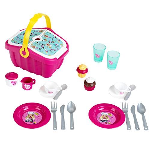 Theo Klein 9527 Barbie Picknickkorb I Robuster Korb voll Buntem Geschirr und Cupcakes für Zwei I Maße: 25 cm x 20 cm x 22,5 cm I Spielzeug für Kinder ab 3 Jahren, Pink