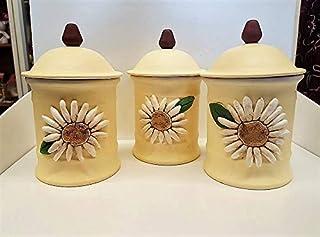 Le Ceramiche Del Re, Set da 3 Barattoli Porta Sale Zucchero Caffè in Ceramica Decorata, con Fiori Margherite