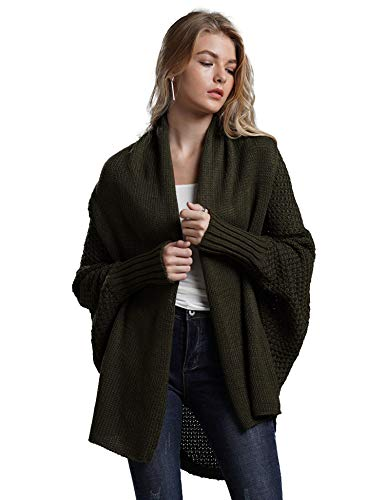 Relipop Women's Cardigans Batwing Long Sleeve Knit Sweater Casual Loose Dark Green