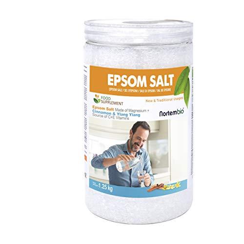 Nortembio Sali di Epsom 1,25 Kg. Qualità Alimentare. Alto Contenuto di Magnesio. Estratti Biologici di Cannella e Ylang Ylang. Fonte di Vitamina C ed E. Salute e Benessere.
