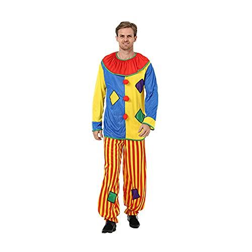 PUYEI Disfraz de payaso de Halloween para hombre y mujer, accesorios para carnaval, disfraz deluxe de payaso, disfraz clásico de payaso de terror (traje de payaso)