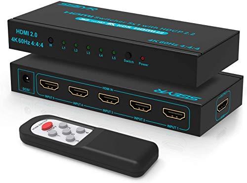 HDMI Switch 2.0 SGEYR 5x1 Port HDMI Switcher 5 In 1 Out HDMI Umschalter Automatische Umschaltung Unterstützung HDCP 2.2 4K@60Hz YUV 4:4:4 HDR10 3D 1080P für PS4 Pro/PS3/Xbox/HDTV