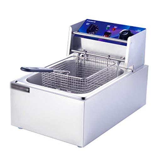 SYZD Elektro-Fritteuse, Professionelle Fritteuse Edelstahlgehäuse mit Temperaturkontrolle 60-200 °C, Maximale Kapazität 6L