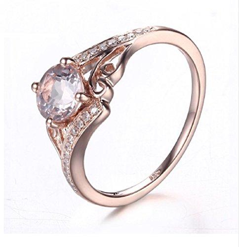 Gowe massiv 10K Rose Gold 0,81ct Morganit 6mm Rund Pavé, natürliche Diamanten Ring Verlobungsring Hochzeit Damen Fashion Jewelry Ring
