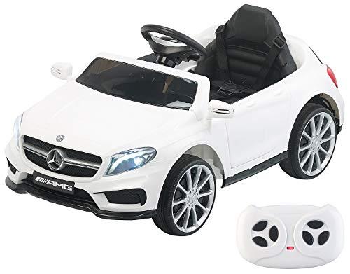 Playtastic Elektroauto: Kinderauto Mercedes-Benz GLA 45, bis 7 km/h, Fernsteuerung, MP3, weiß (Kinder Elektroauto)