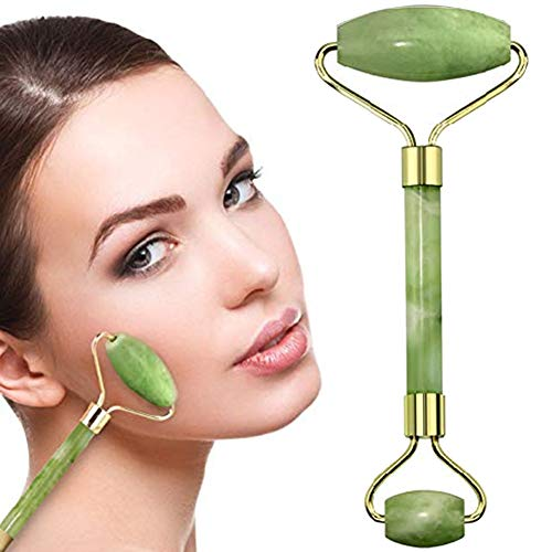 100% Natural Jade Face Roller/Anti Aging Jade Stone Massager for Face & Eye Massage - Make Your Face Skin Smoother and Looks Younger