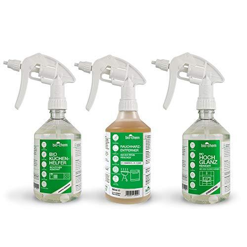bio-chem Küchenreiniger-Spar-Set 3-teilig: Backofenreiniger + Küchenhelfer + Hochglanzreiniger + Mischflasche, geeignet für alle Küchen-Oberflächen, Backofen, Induktionskochfeld, Ceranfeld u.v.m.