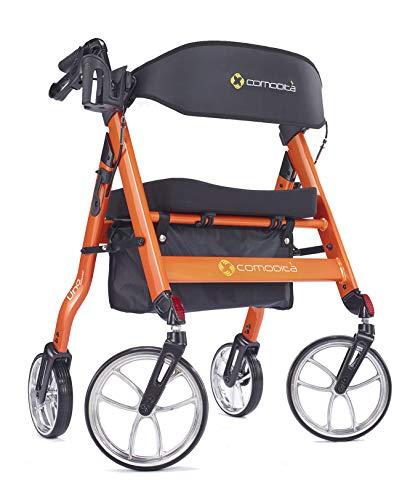 Comodita Uno HeavyDuty Aluminum Rollator Walker with Orthopedic 16quot Wide Seat Metallic Orange