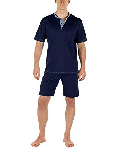 Calida Herren Pyjama kurz Chill Out Zweiteiliger Schlafanzug, Blau (Dark Blue 449), X-Large (Herstellergröße: XL=54/56)