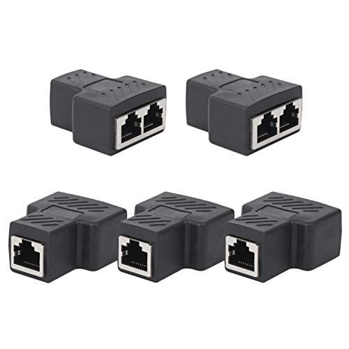 Nätverkssplitter, 5 delar nätverksdelare RJ45 1-i-2 trevägs adapter trådförlängare svart industriella element