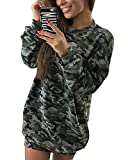 Minetom Robe Sweat à Capuche Color Block, Manches Longues Oversize Robe Sweat Longue Casual Pullover Hoodie Dress Camouflage FR 36