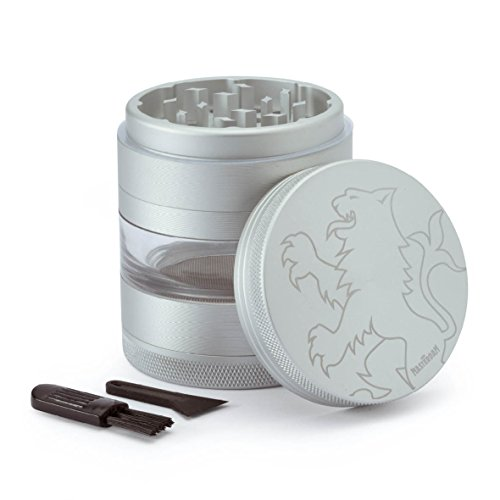 Masterdam Grinders Lion Series 5 Piece Herb Grinder with Removable Pollen Screen - 55mm - 2.2 Inch Satin Silver Aluminum