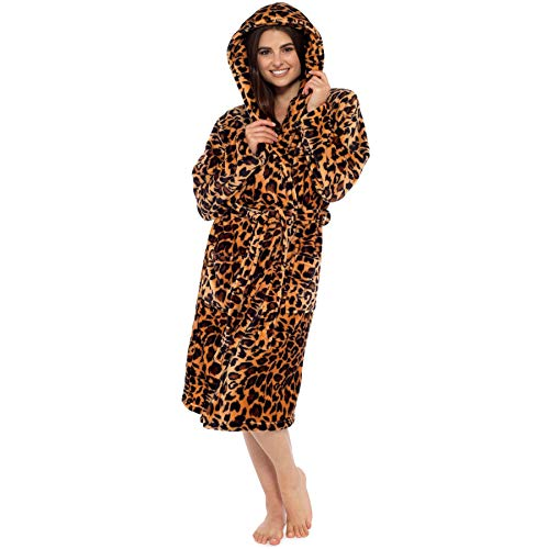Style It Up Damen Bademantel mit Kapuze, weich, warm, warm Gr. Large, Braun - Leopard