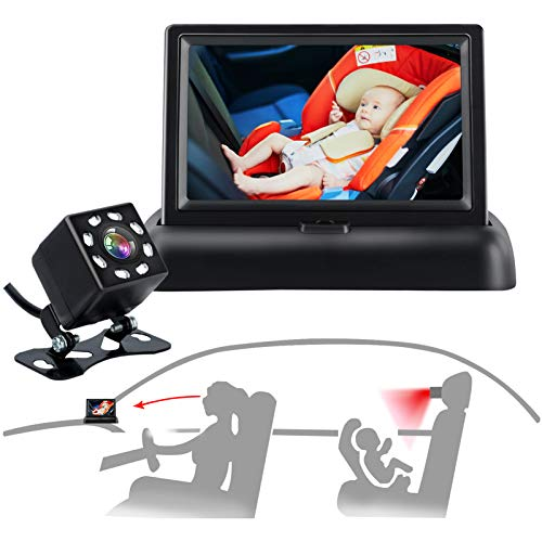 Baby Camera for car, 4.3'' HD Car Baby Camera Monitor, Safety Car Seat Mirror Camera with Wide Crystal Clear View, Night Vision, Not Need to Turn Around, Observe The Baby's Every Move at Any Time