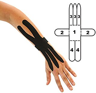 2-Pack - Kindmax Precut Wrist Support (Black) - Kinesiology Tape for Wrist Pain and Carpal Tunnel Syndrome