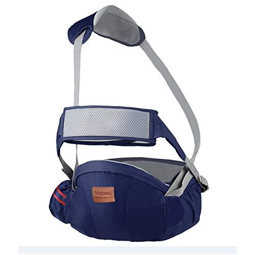 LINYUXX Ergonómico Portabebé Asiento de Cadera, con Bandolera&Protección del Cinturón la Seguridad, Taburete de Cintura de Posición Múltiple por Bebé Niños 3-36 Meses,Darkblue