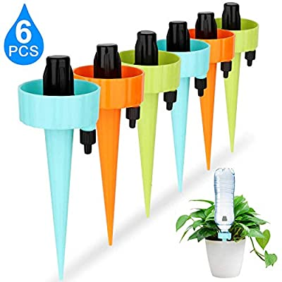 Lonfenner Automatic Watering Device with Slow Release Control Valve Switch,Plant Waterer,Self Spikes Irrigation System,Plant Watering Spikes for Indoor or Garden,6PCS/Set by Lonfenner