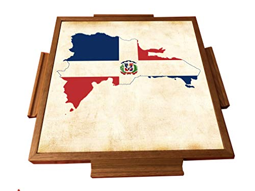 Great Features Of latinos r us Dominican Republic Map Domino Table top (Natural)