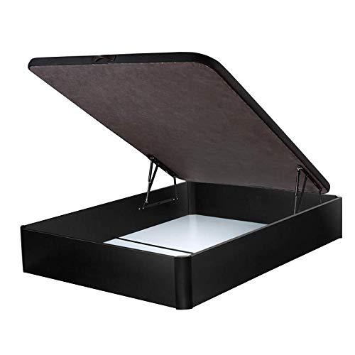DHOME Canape Abatible Tapizado 3D Blanco y Negro con Apertura Normal o Lateral Esquinas Macizas de Haya canapé Madera (135x190 22mm, Negro)