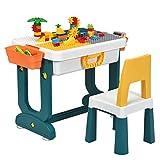 COSTWAY 5 in 1 Kinder Aktivitätstisch Spieltisch Kinderschreibtisch mit Stauraum, Kindersitzgruppe Bausteintisch Sandtisch Wassertisch mit Stuhl ideal für Kinderzimmer und Kindergarten