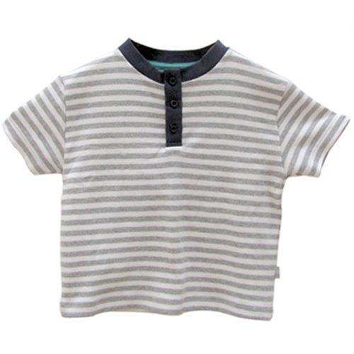 Little Green Radicals T-shirt Henley à rayures Coton biologique et commerce équitable Gris/blanc