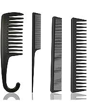 4 PcsJuego de peines de fibra de carbono para el pelo, Peluquería Peine Pelo Peine 100% antiestático 230 ℃ Resistente al calor peine de corte Peluquería Estilista de pelo peine de corte,