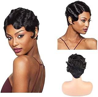 BLISSHair Pelucas Pixie Cut Peluca brasileña corta de cabello humano 100% sin procesar cabello virgen brasileño 3.5x4 Pelucas de cierre Negro para mujer 8 pulgadas