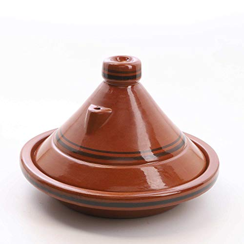 Casa Moro Marokkanische Tajine Terra Miel Ø 35 cm glasiert | Kochen für 6-8 Personen | Premium-Qualität | Gartopf Tontopf aus Marrakesch | TA7044