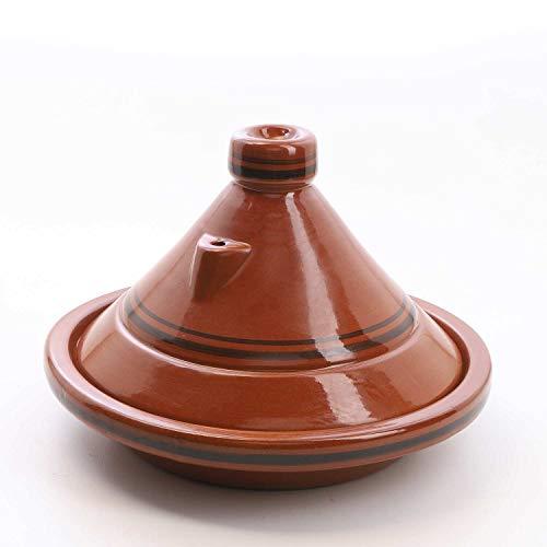 Casa Moro Marokkanische Tajine Terra Miel Ø 35 cm glasiert zum Kochen für 6 bis 8 Personen | Handmade Tontopf Berber Gartopf & Schmortopf