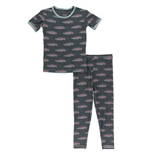 KicKee Pants - Print Pajama Set with Short Sleeve Tee, Ultra Soft and Snug Fitting PJ's - Matching Top and Bottom Sleepwear Set, Newborn to Baby Pajamas (Stone Rainbow Trout - 3T)