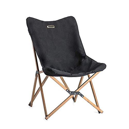 Holz Holz Angeln Stuhl kann für Büro Camping Licht Holzmaserung Nap Stuhl Strand Stuhl Angeln Outdoor Klappstuhl - schwarz
