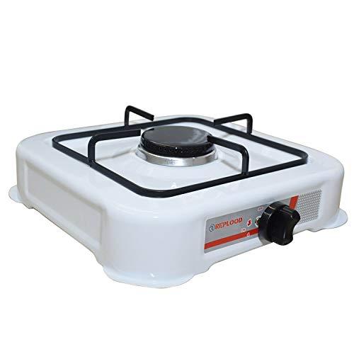 REPLOOD Hornillo Gas GLP 1 Fuego Blanco Hornillo de camping Cocina Portátil 27 x 27 cm