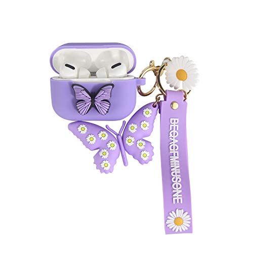 Heniu for Airpod Pro Case Cover (2019 Released), 3D Butterfly Liquid Silicone Airpods Pro Cute Case with Keychain Compatible for Apple Airpods Pro Charging Case-Purple