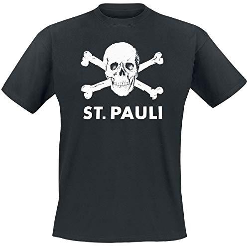 FC St. Pauli Skull Hombre Camiseta Negro, [Effekte/Besonderheiten] + Regular