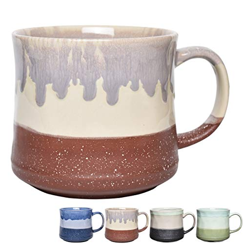 Bosmarlin Large Stoneware Coffee Mug for Office and Home, 21 Oz, Dishwasher and Microwave Safe (Red)