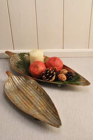 Vintage Home decoratieve schaal fruitschaal bladvorm in set van 2 zilver goud l 50 cm metalen schaal bord antiek