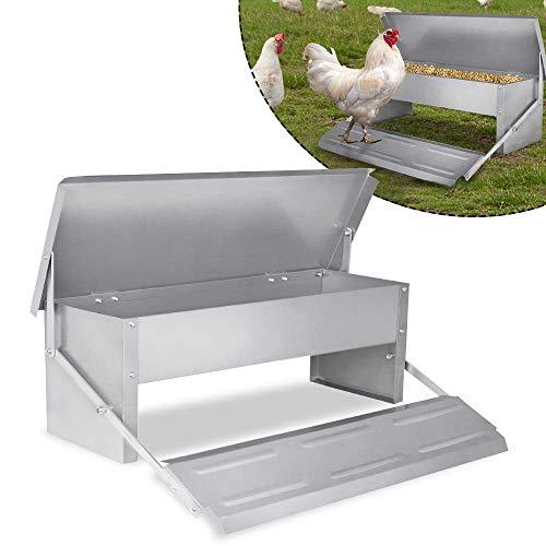 jhtceu Da Open-verzinktem Stahl Huhn Huhn Feeder Futterautomat kann bis zu 5 Kilogramm Nahrung aufnehmen,Silver