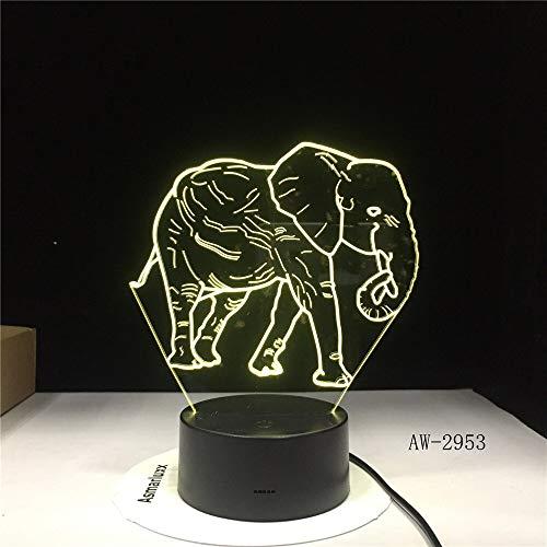 Dance Elephant Amazing 2953 Nachtlicht 3D LED Tischlampe Kinder Geburtstagsgeschenk Nachtzimmer Dekoration