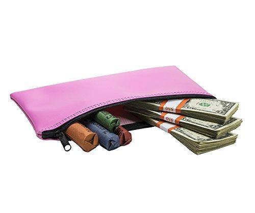 "Cash Bag, Coin Bag, Company Security Bank Deposit/Utility Zipper Bag, 5.5"" x 10.5"", Pink (25 Bags)"