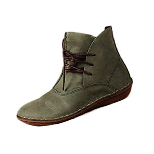 Vogstyle Damen Leder Stiefel New Flache Schuhe Art 1 Grün EU38.5-39/CH40
