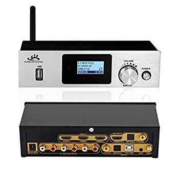 5.1 decoder Separator for DTS AC3,Digital Analog Audio Video System with BT-5.0 Receiver HDMI 4K 3D,Coaxial,Optical Fiber,AUX,U Disk,PC-USB Input,192Khz/24Bit for Home Theater Game Music