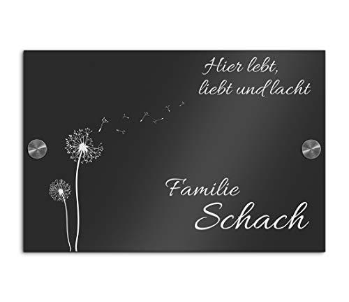 Edles Namensschild | Türschild mit Gravur mit über 80 Motiven Familien-Haus Namensschild Familienschild Türschilder für die Haustür mit Namen bis 30x20 cm